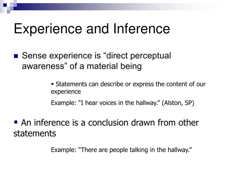 Experience and inference l.jpg