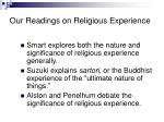 our readings on religious experience