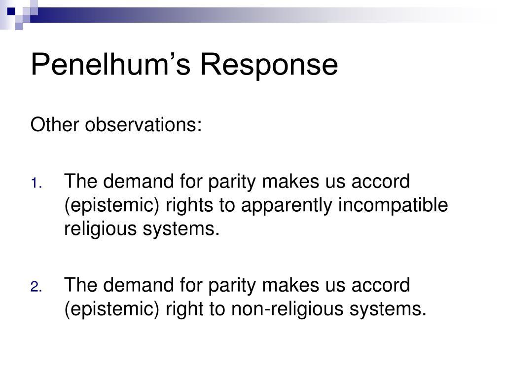 Penelhum's Response