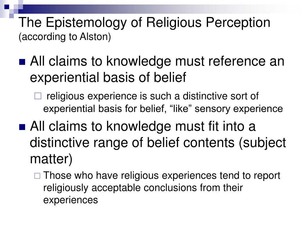 The Epistemology of Religious Perception