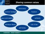 sharing common values