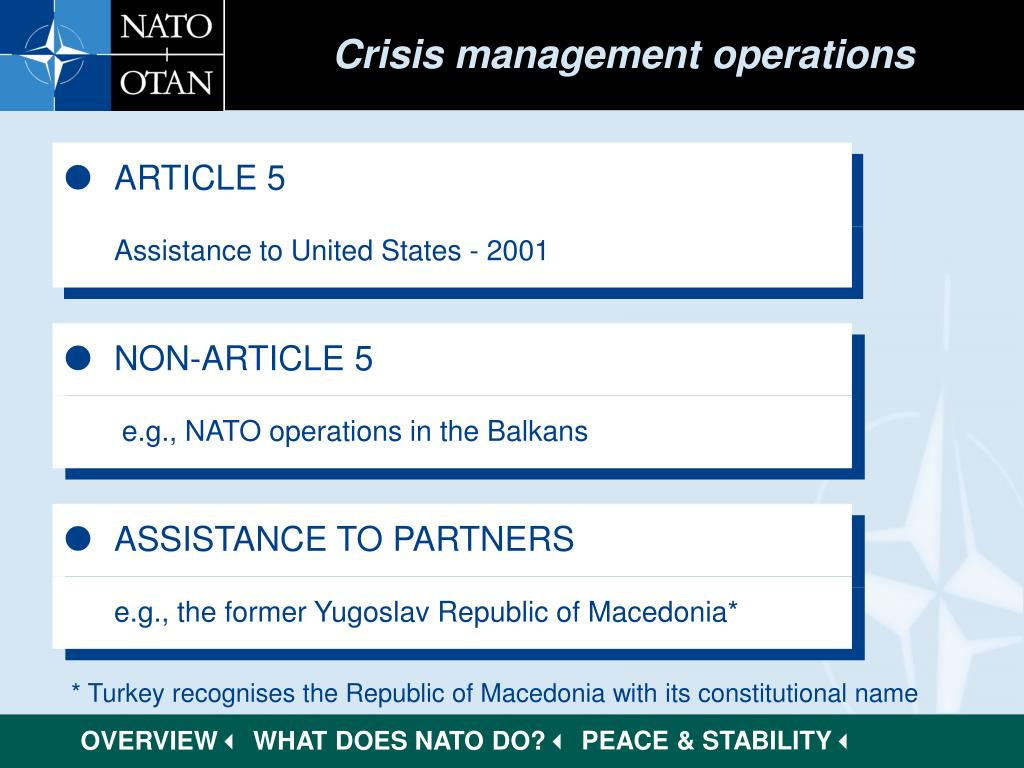 Crisis management operations