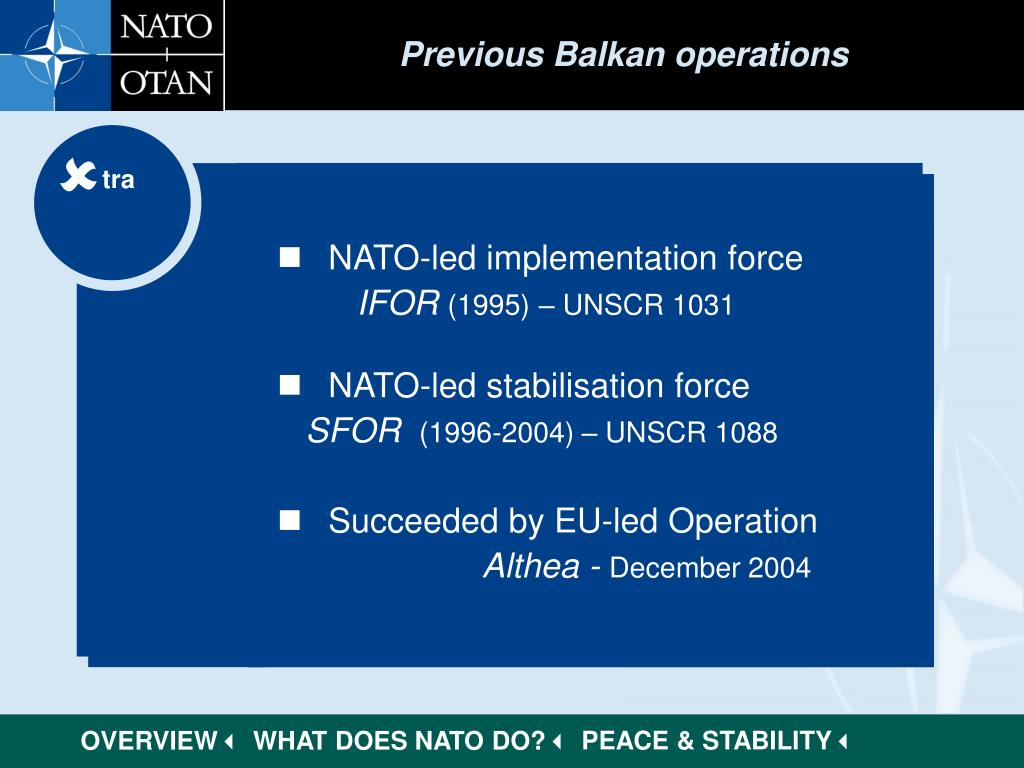 Previous Balkan operations