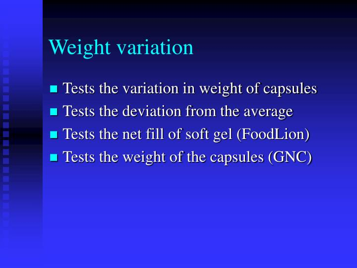 Weight variation