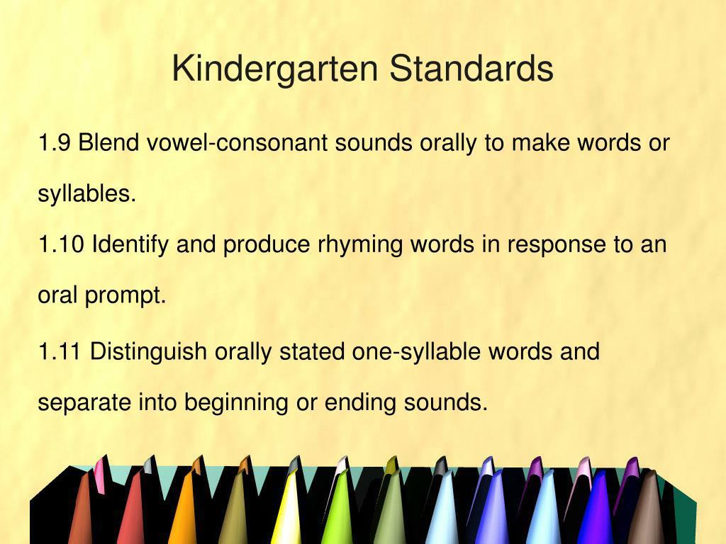 Kindergarten Standards