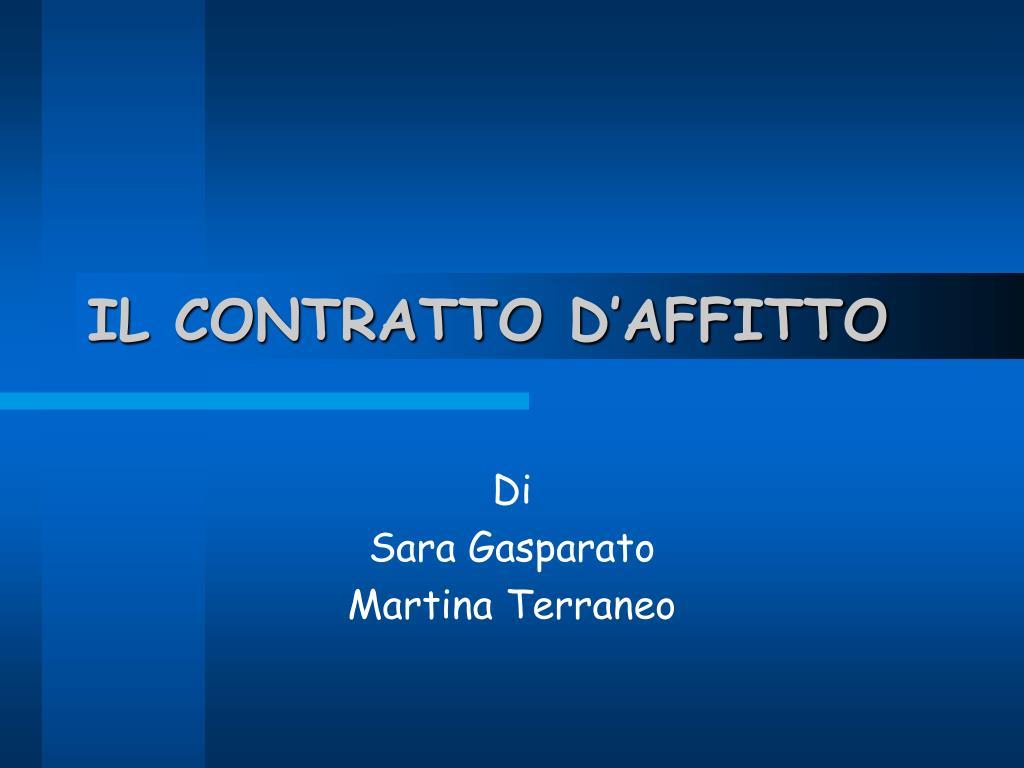 IL CONTRATTO D'AFFITTO