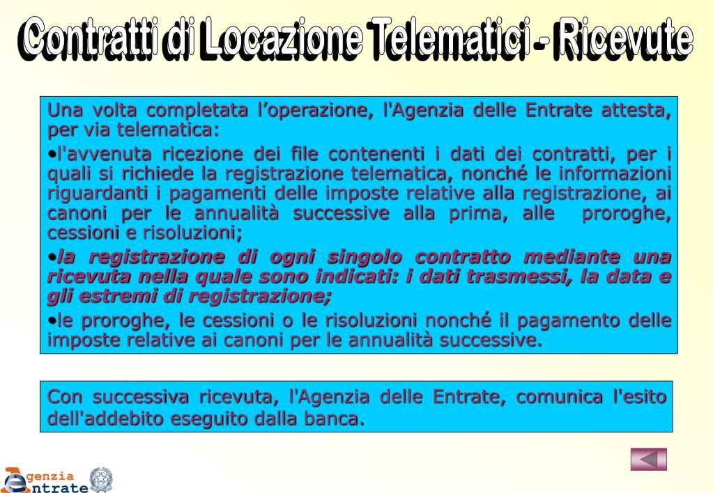Contratti di Locazione Telematici - Ricevute