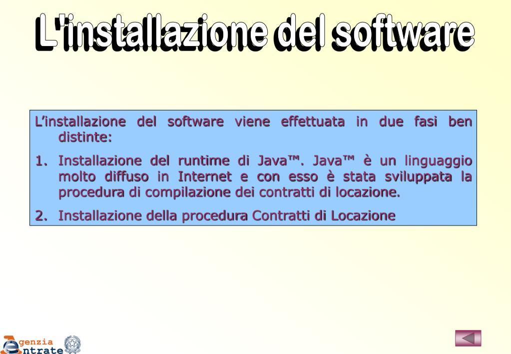 L'installazione del software