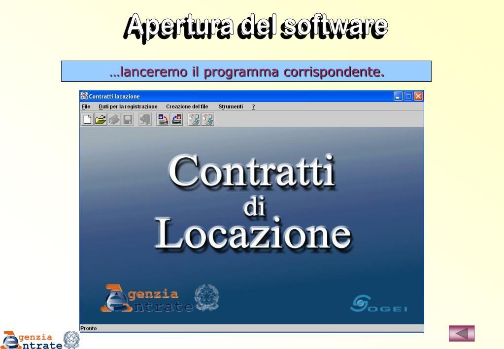 Apertura del software