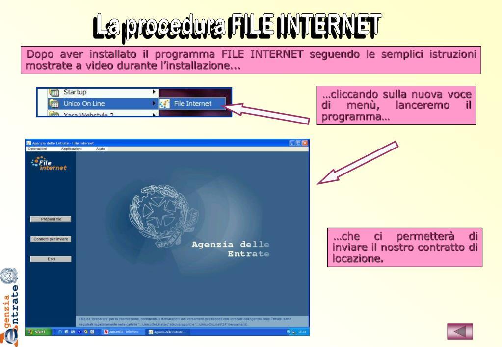 La procedura FILE INTERNET