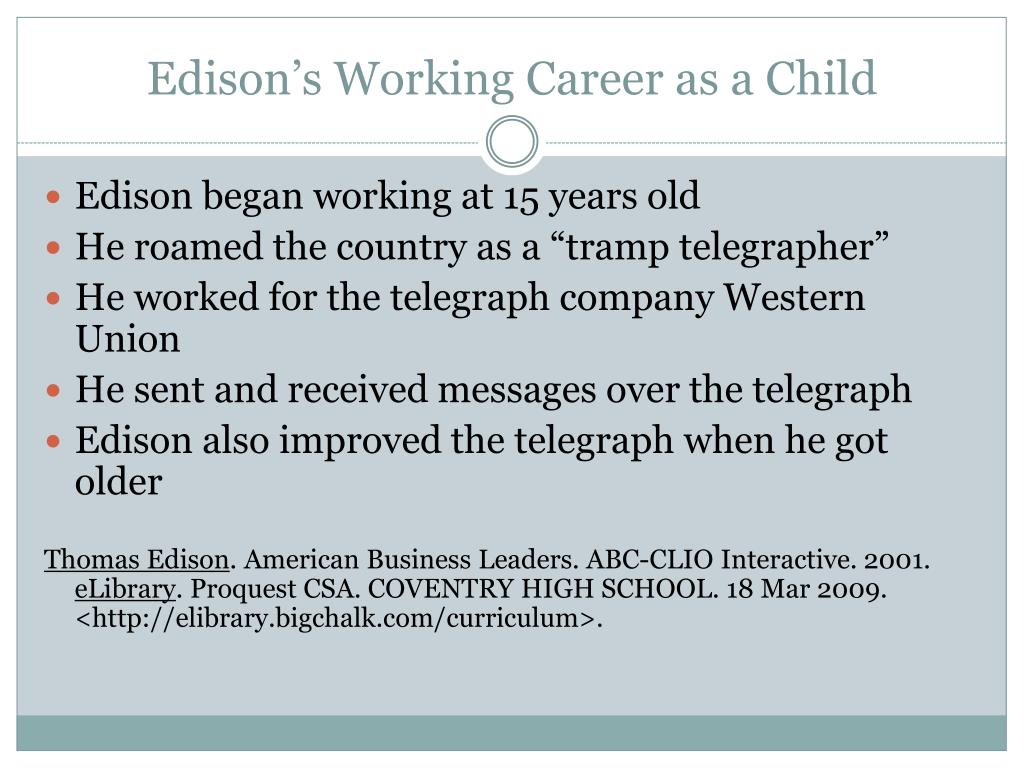 Edison's Working Career as a Child