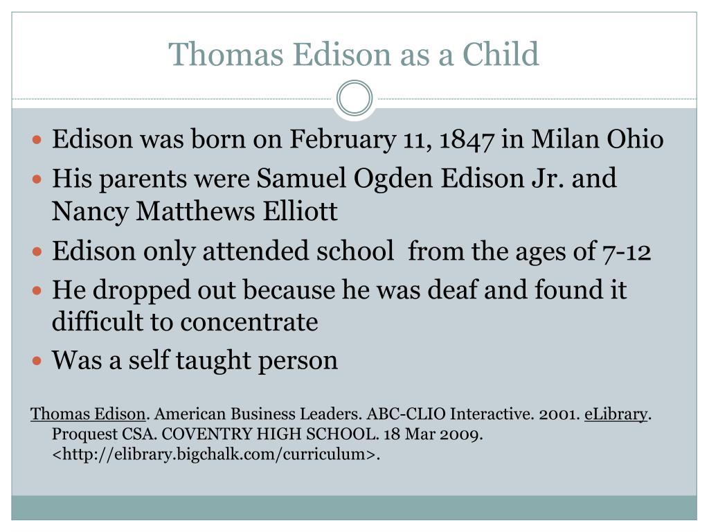 Thomas Edison as a Child