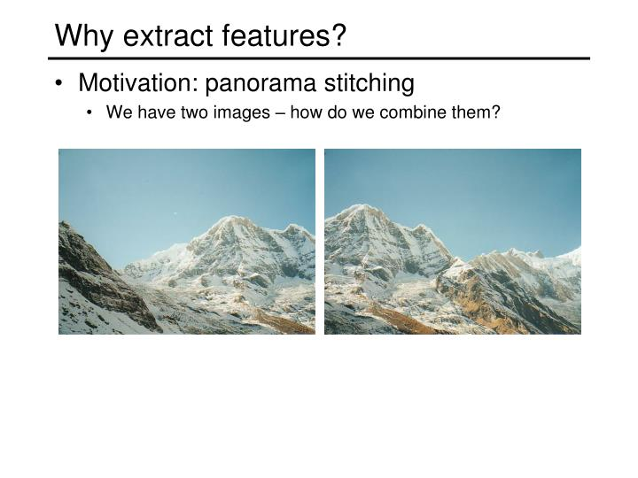 Why extract features