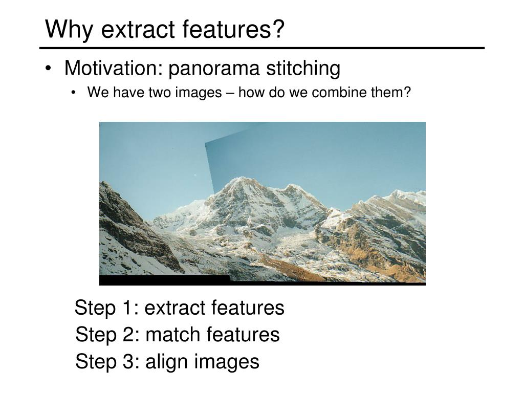 Why extract features?