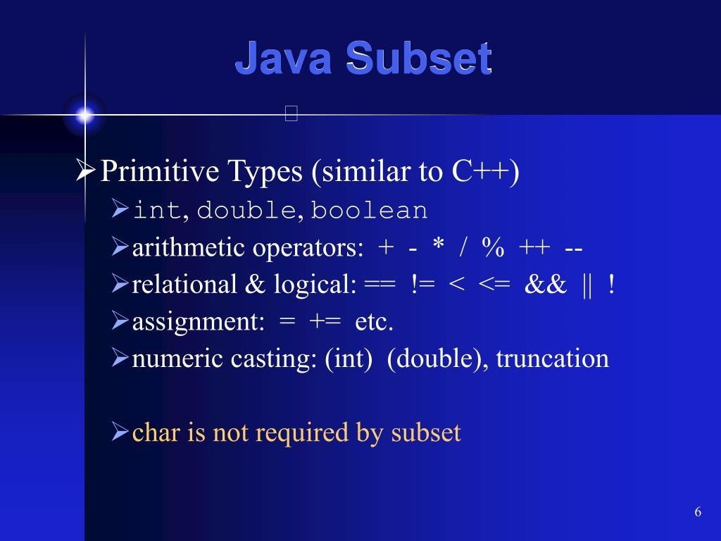 Java Subset