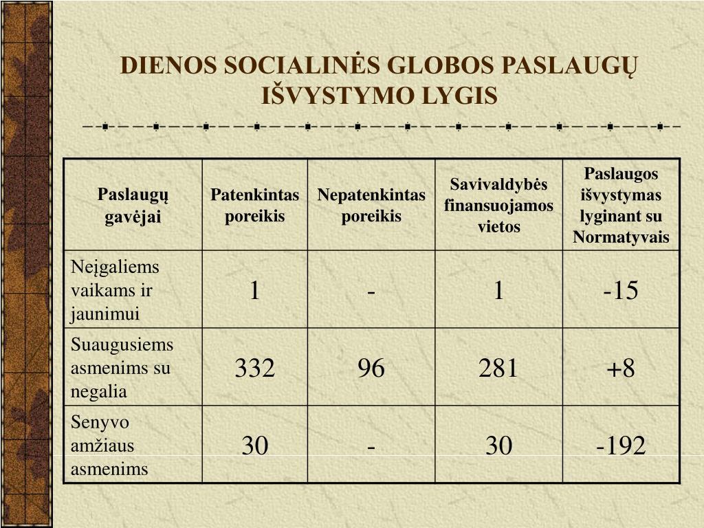 DIENOS SOCIALINĖS GLOBOS PASLAUGŲ IŠVYSTYMO LYGIS