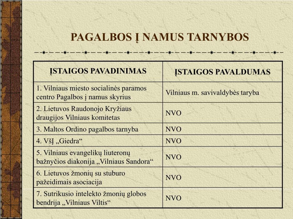 PAGALBOS Į NAMUS TARNYBOS