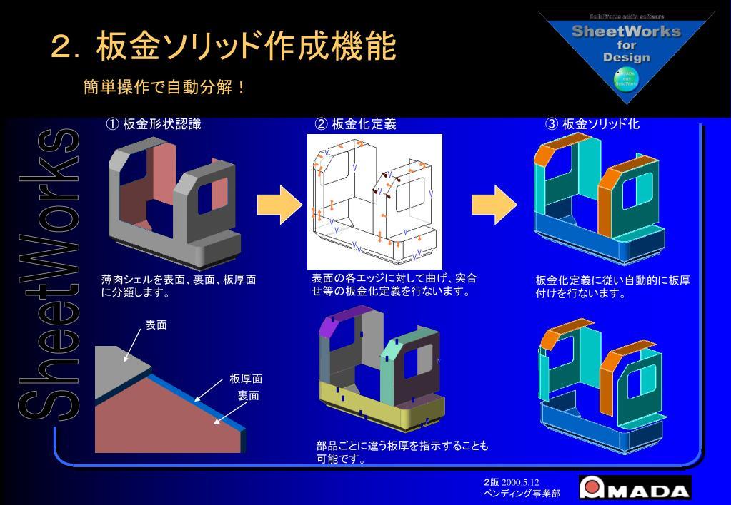 2.板金ソリッド作成機能