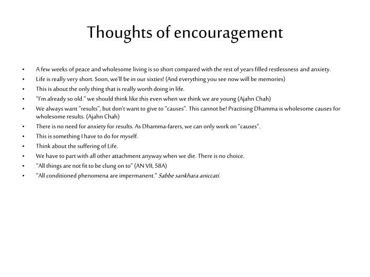 Thoughts of encouragement