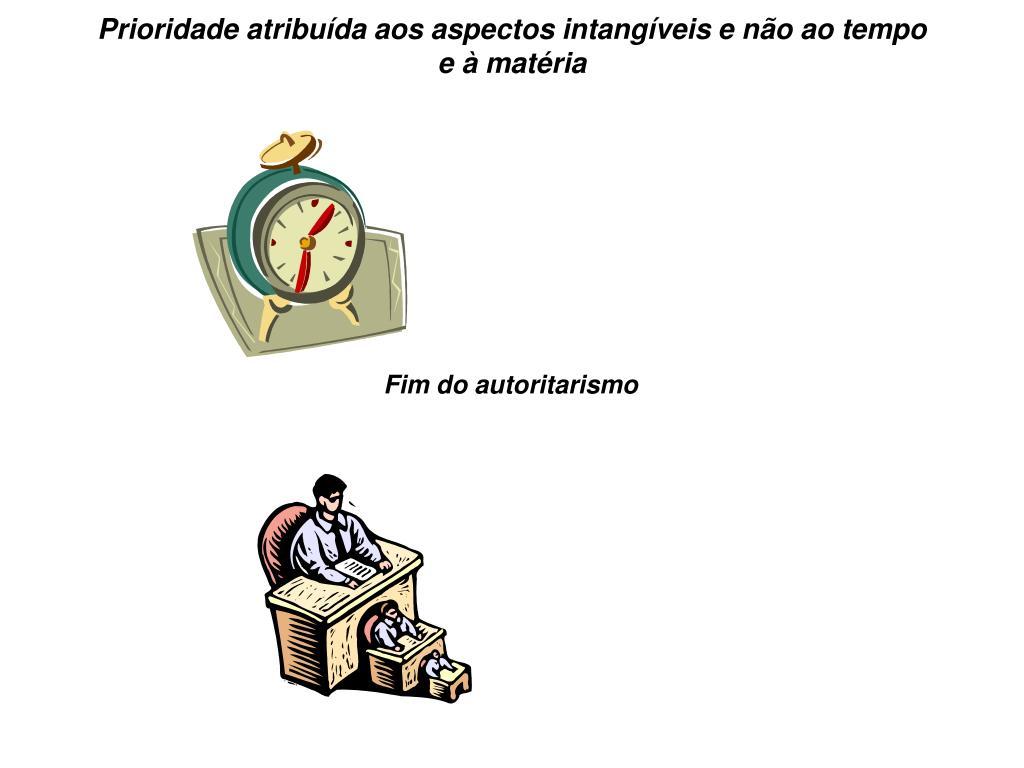 Prioridade atribuída aos aspectos intangíveis e não ao tempo e à matéria