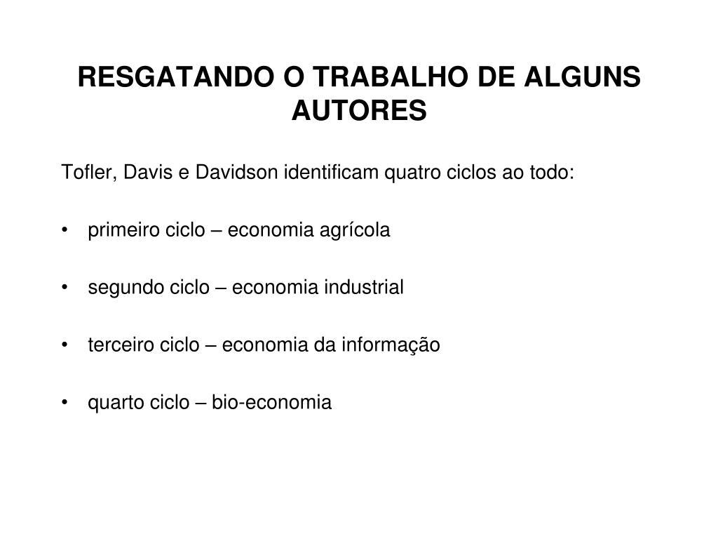 RESGATANDO O TRABALHO DE ALGUNS AUTORES