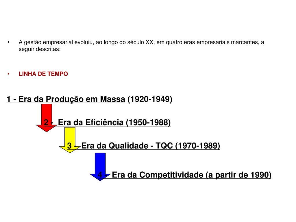 A gestão empresarial evoluiu, ao longo do século XX, em quatro eras empresariais marcantes, a seguir descritas:
