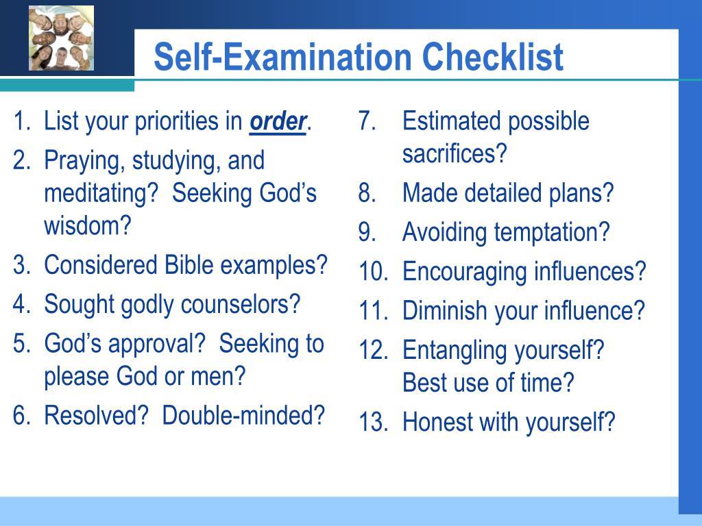 Self-Examination Checklist