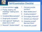 self examination checklist