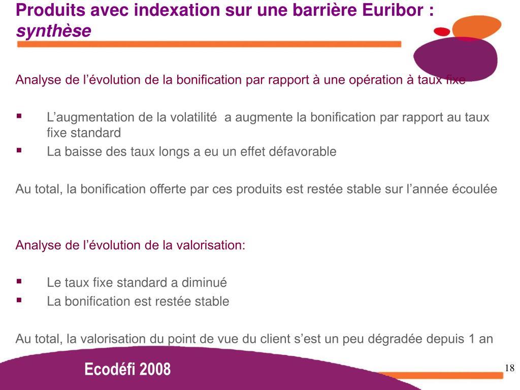 Produits avec indexation sur une barrière Euribor :