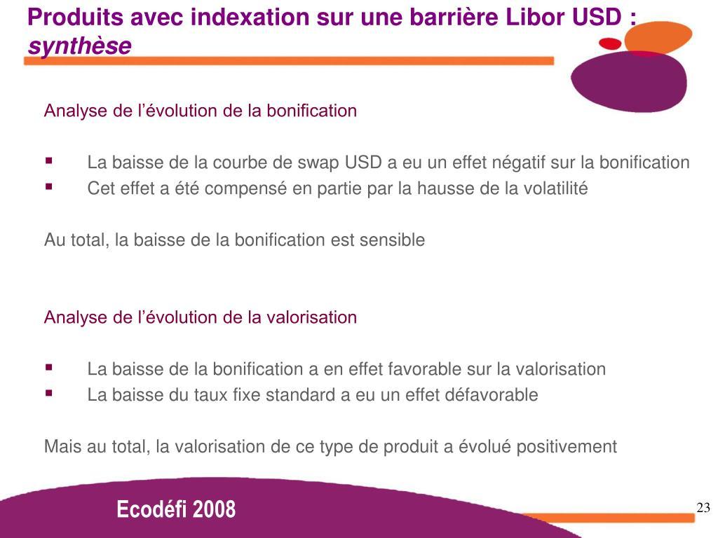 Produits avec indexation sur une barrière Libor USD :