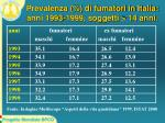 prevalenza di fumatori in italia anni 1993 1999 soggetti 14 anni