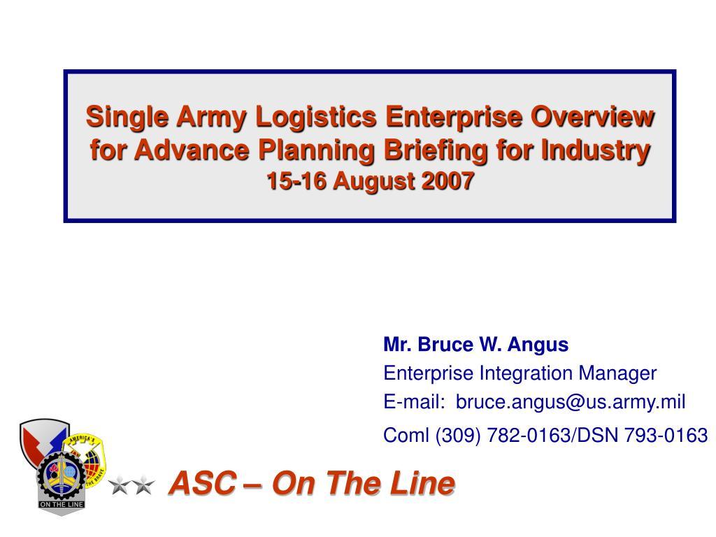 Single Army Logistics Enterprise Overview
