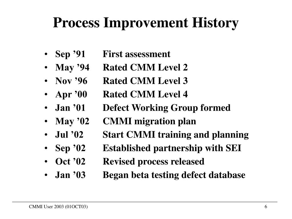 Process Improvement History