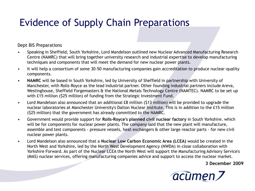 Evidence of Supply Chain Preparations