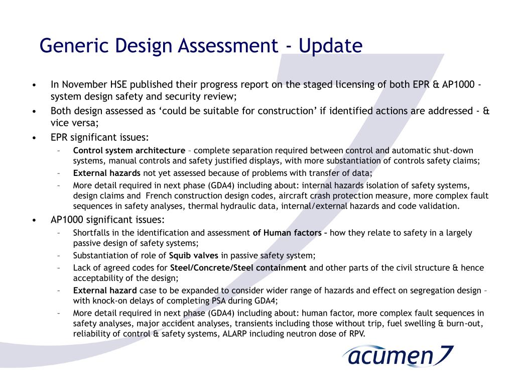 Generic Design Assessment - Update