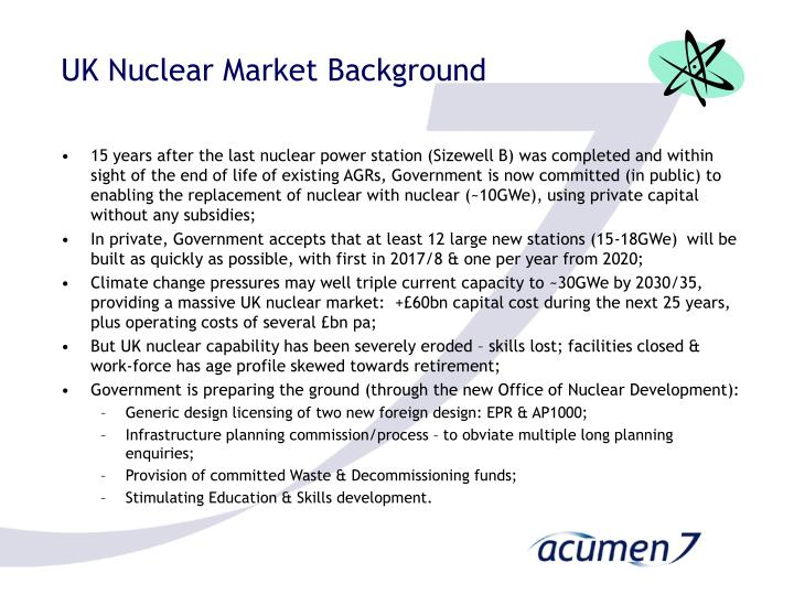 Uk nuclear market background