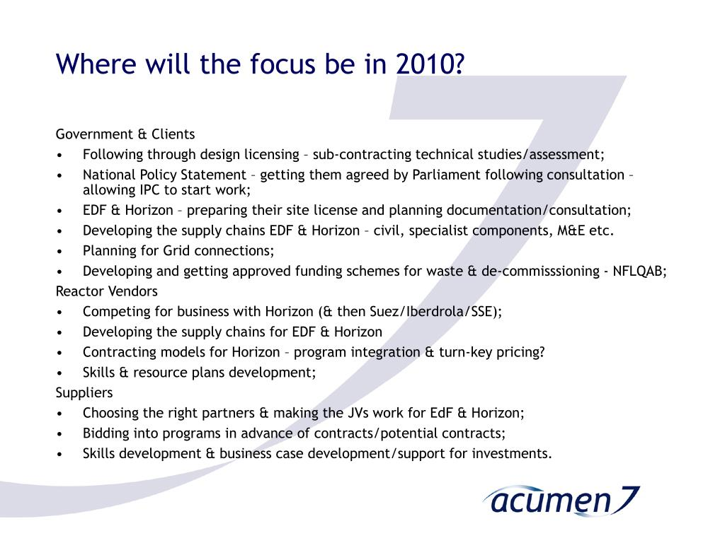 Where will the focus be in 2010?