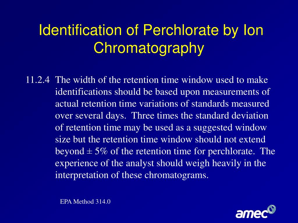 Identification of Perchlorate by Ion Chromatography