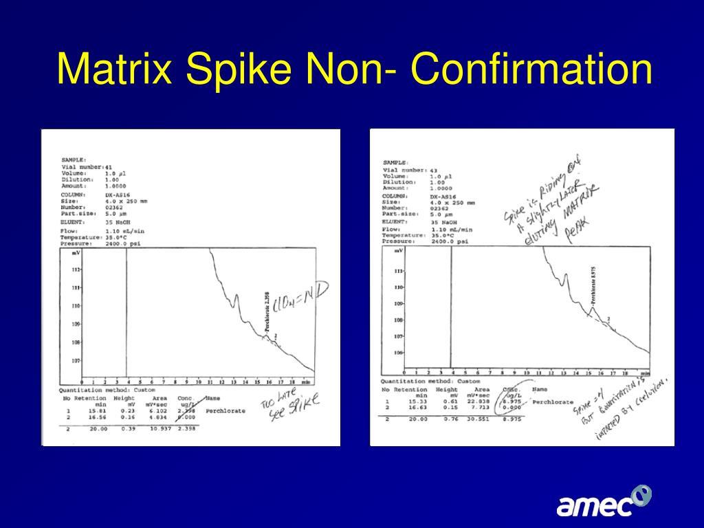 Matrix Spike Non- Confirmation