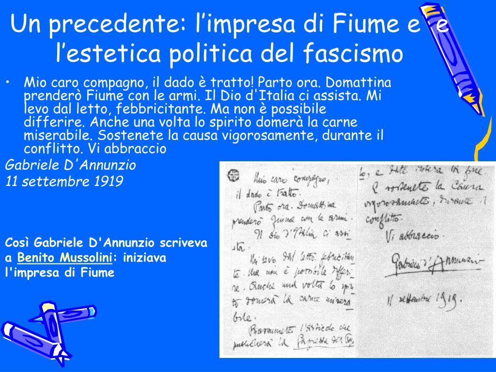 Un precedente: l'impresa di Fiume e  e l'estetica politica del fascismo