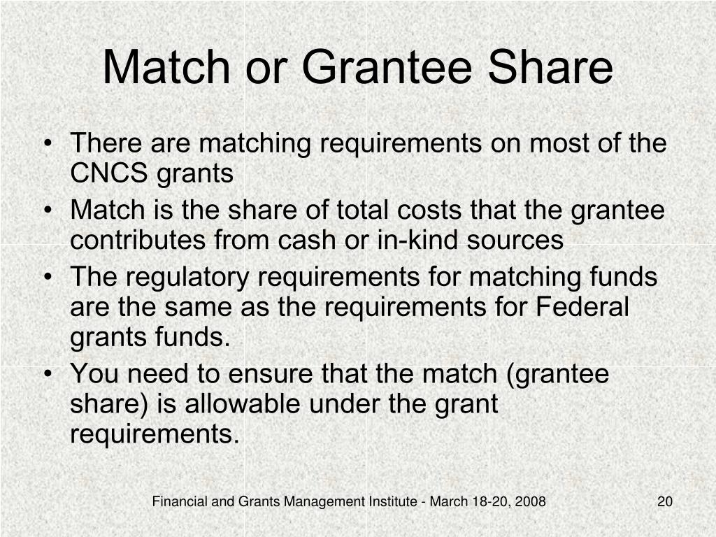 Match or Grantee Share