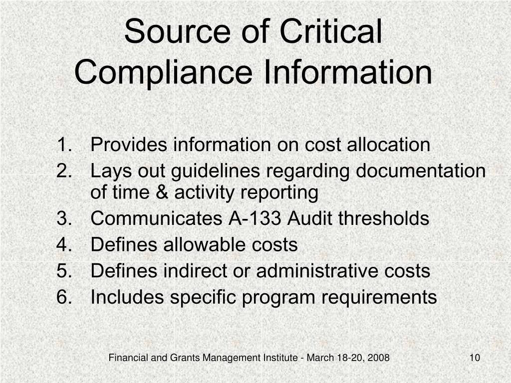 Source of Critical Compliance Information