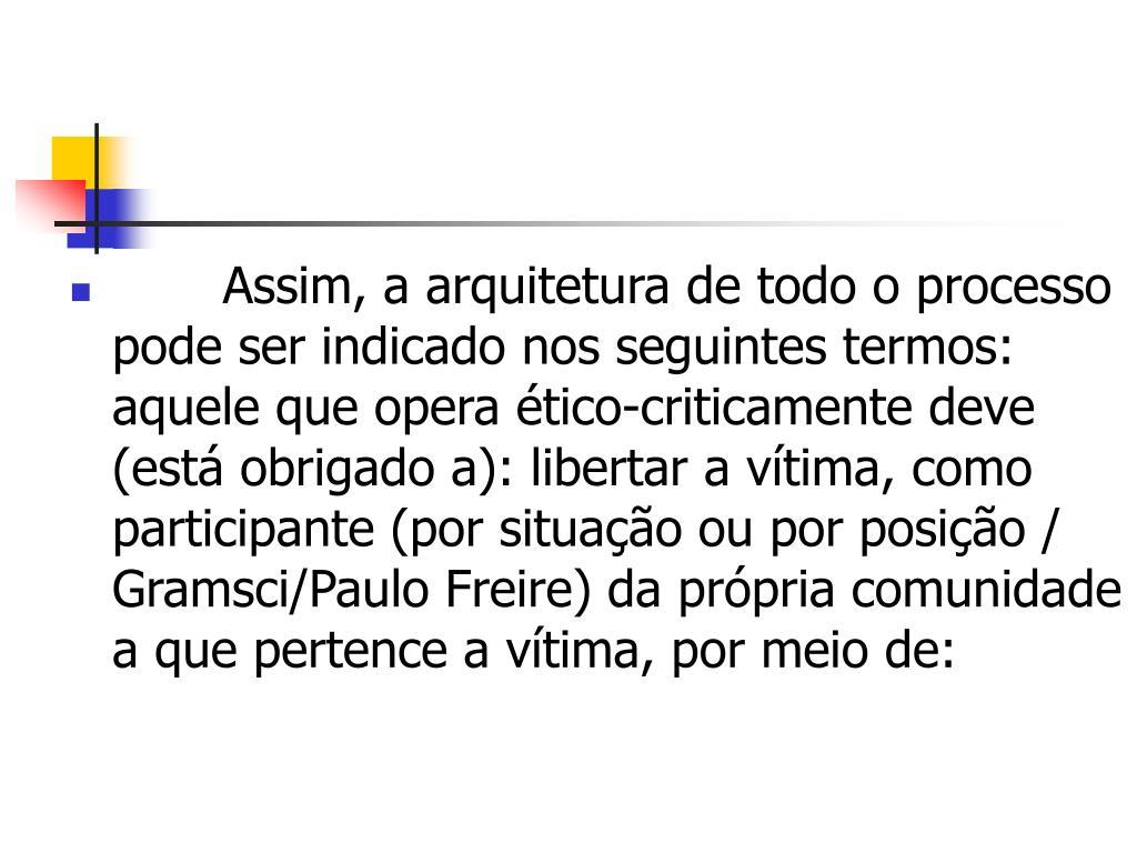 Assim, a arquitetura de todo o processo pode ser indicado nos seguintes termos: aquele que opera ético-criticamente deve (está obrigado a): libertar a vítima, como participante (por situação ou por posição / Gramsci/Paulo Freire) da própria comunidade a que pertence a vítima, por meio de: