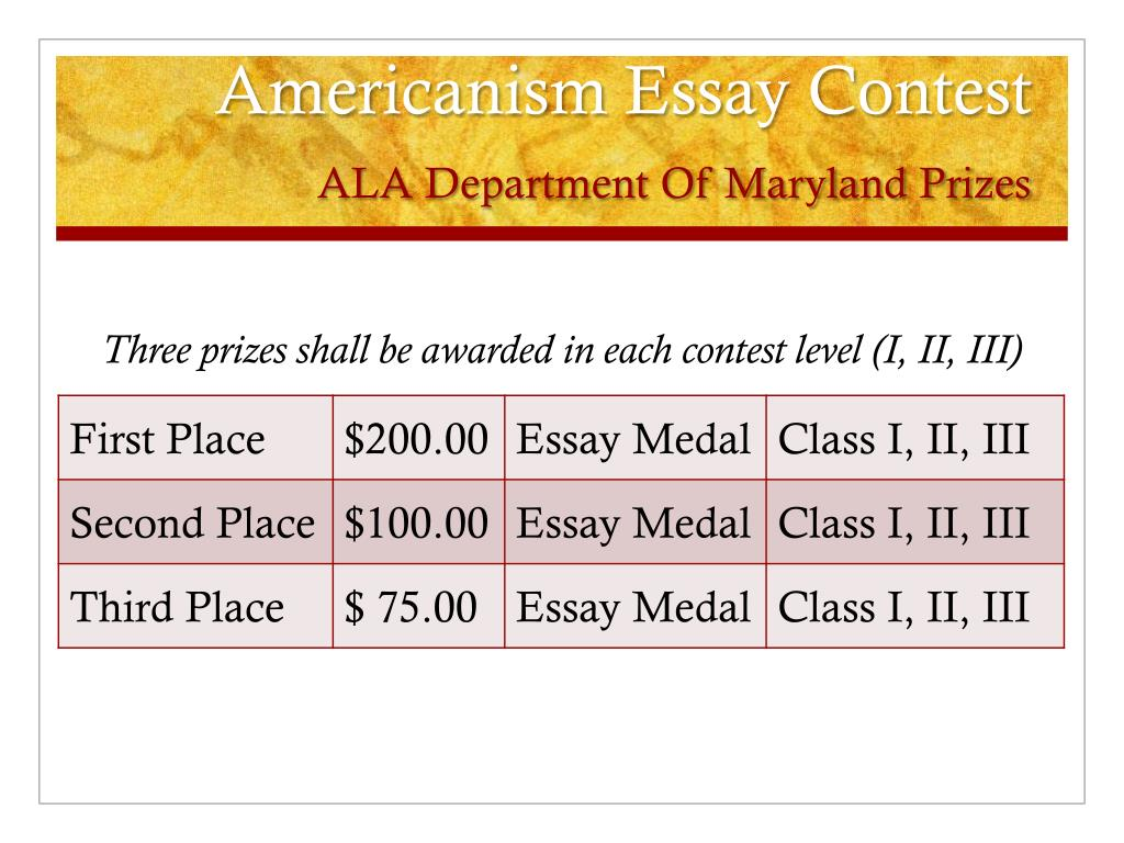 next american essay contest Check back periodically for our next essay contest read the prize-winning entries to our recent contest, basic symbols of american political tradition here or find.