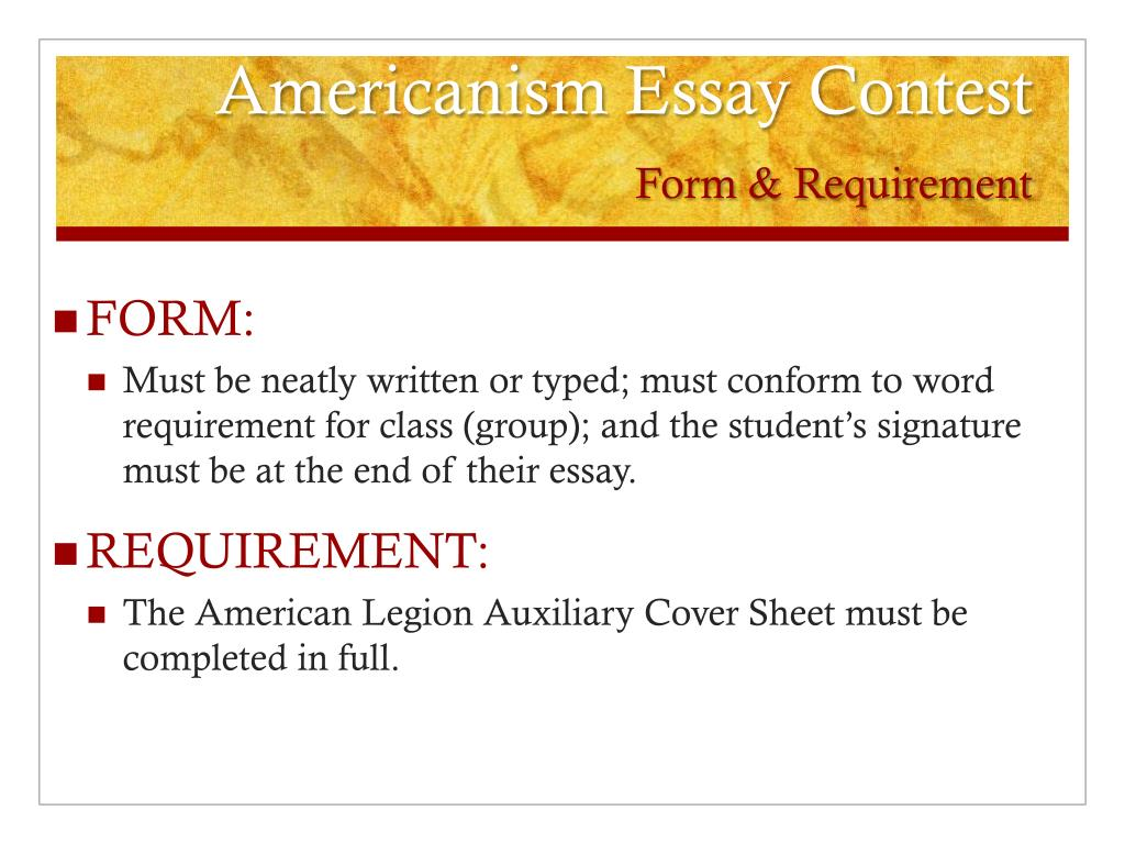 americanism essay contest Americanism essay contest 2018 cover sheet each year the american legion auxiliary (ala) sponsors an americanism essay contest for students in grades 3.