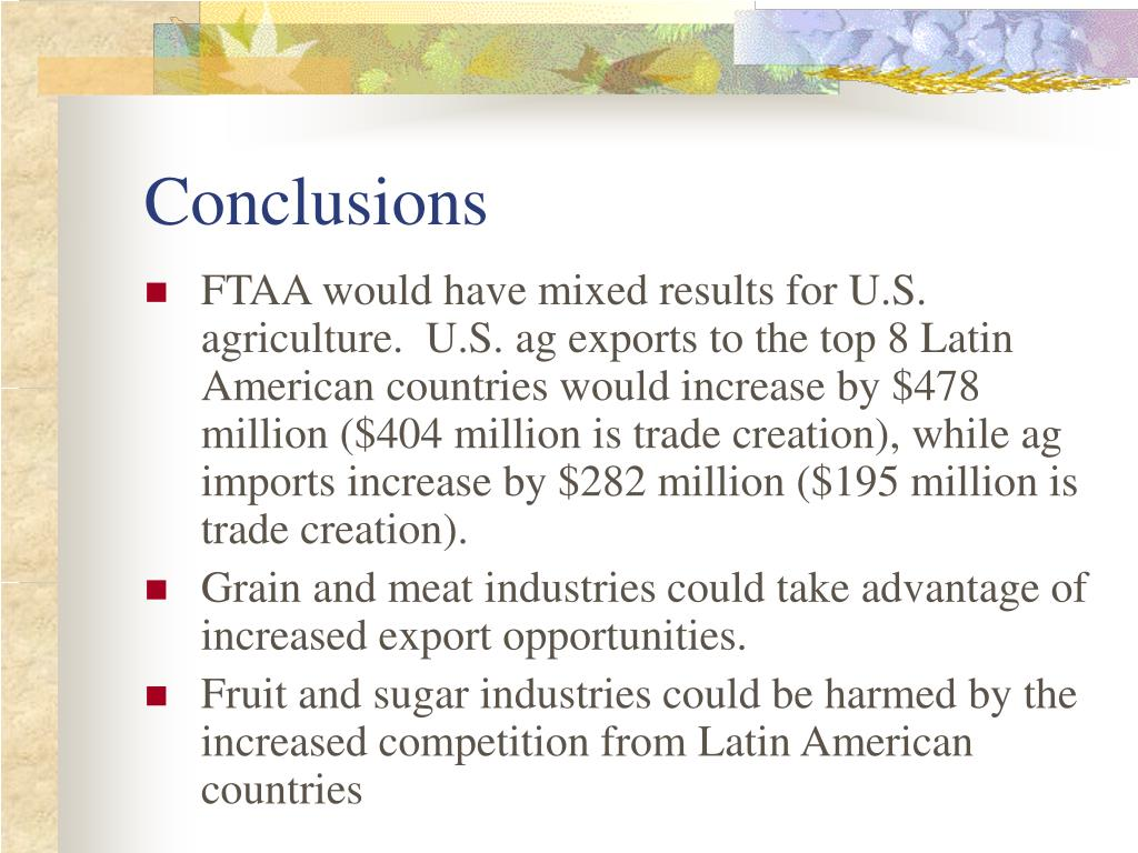 the free trade area of the americas The free trade area of the americas (ftaa) is the expansion of the north american free trade agreement (nafta) to every country in central america, south america and the caribbean, except cuba.
