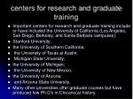 centers for research and graduate training