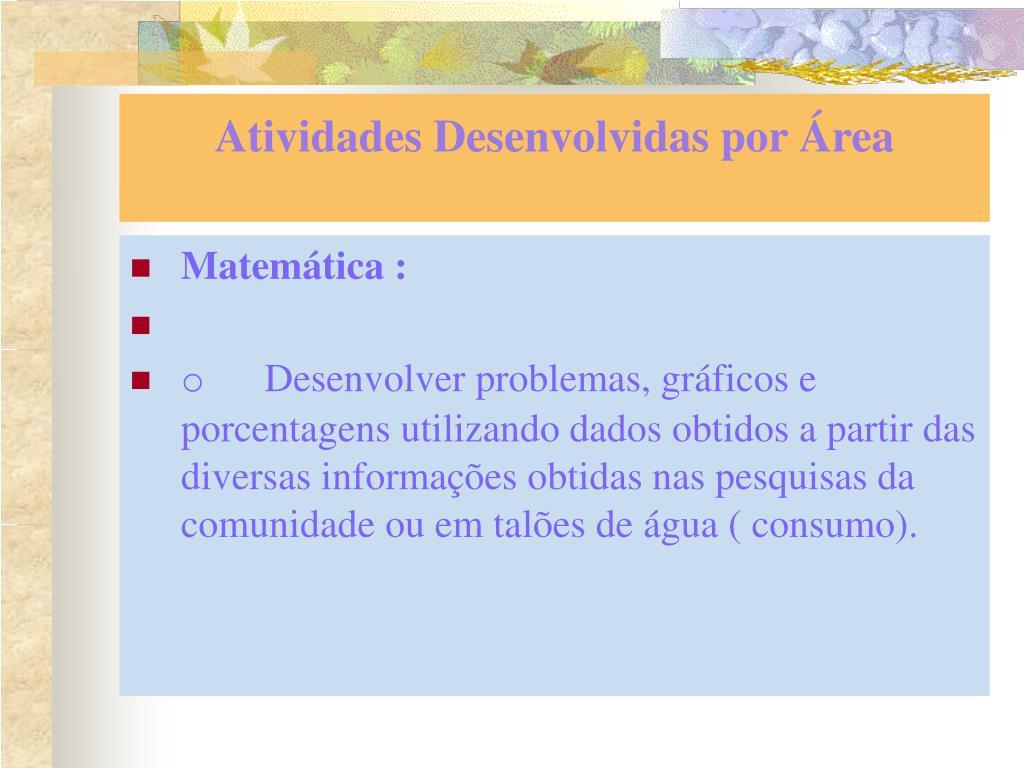 Atividades Desenvolvidas por Área