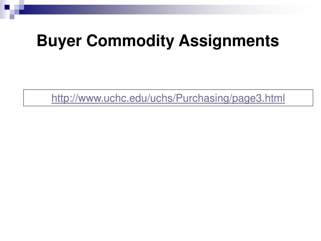Buyer Commodity Assignments
