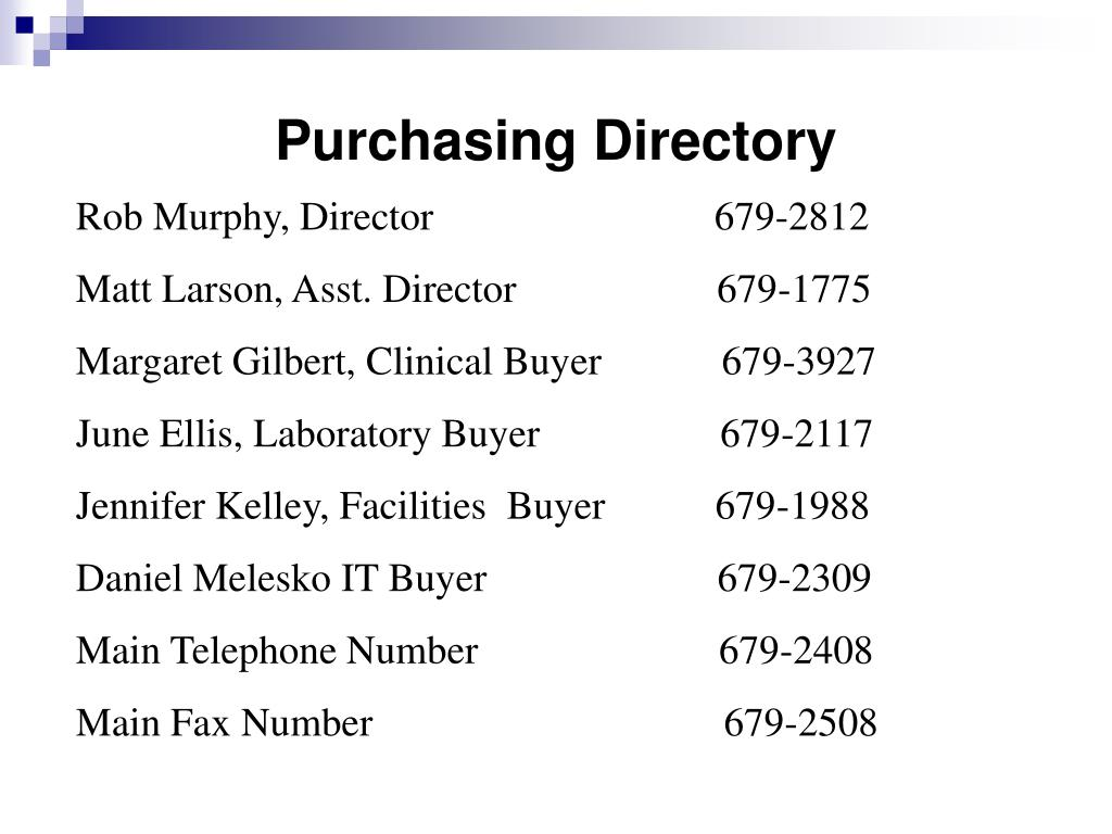 Purchasing Directory